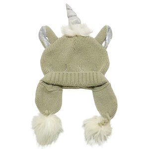 Beige Sparkle Unicorn Pom Pom Toque
